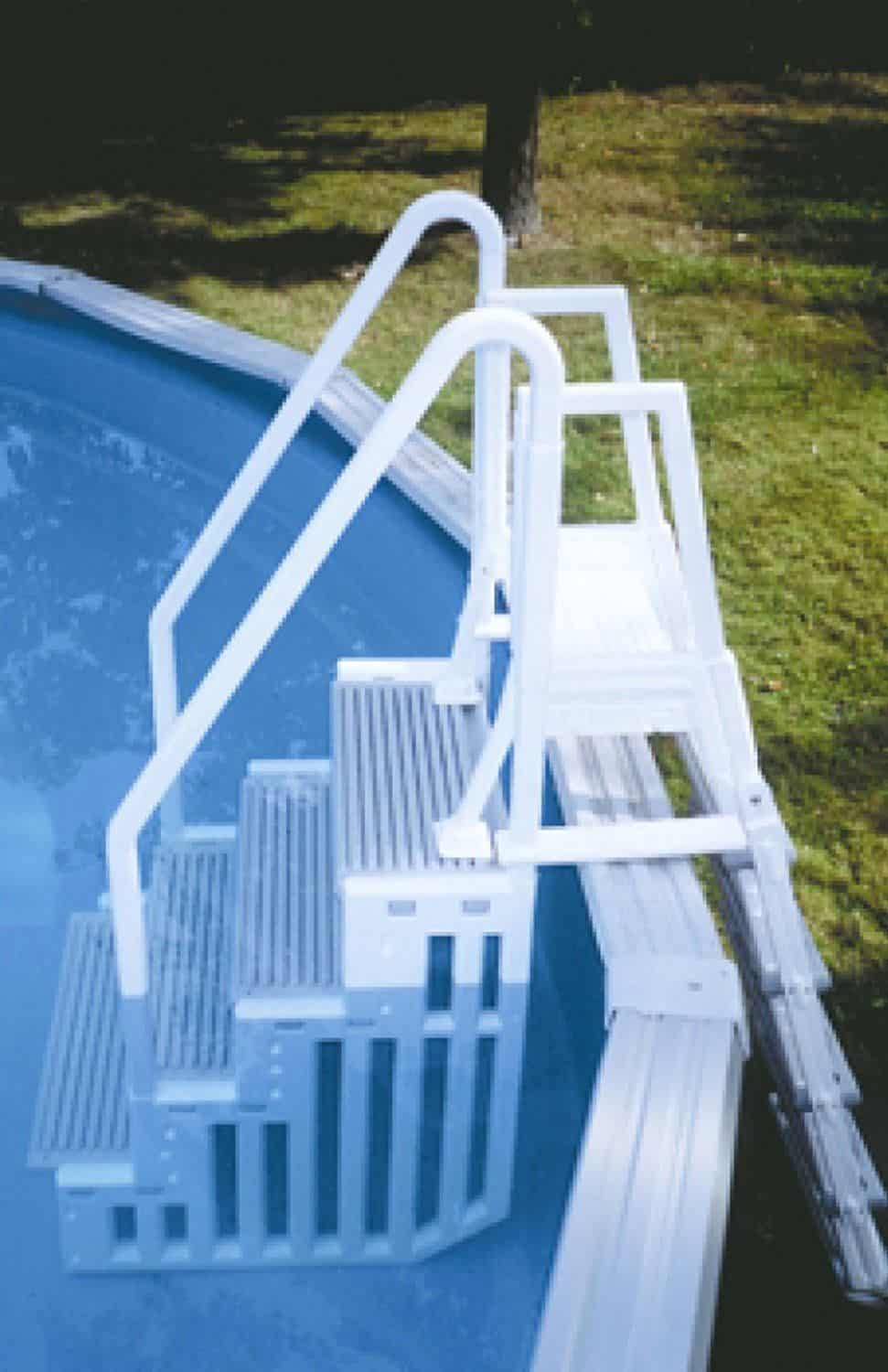 The best above ground pool ladders and steps home pools plus - Above ground pool steps for handicap ...